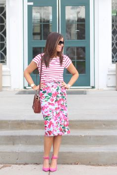 HAPPY FRIDAY AND HAPPY MAY! There's just so much happiness going around today I can hardly stand it. So I wore an outfit to match. Because what's more happy than pink heels, florals, & Kate Spa...