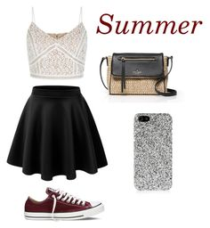 """""""Untitled #170"""" by dionnalasha18 ❤ liked on Polyvore featuring New Look, Kate Spade, Converse, Yves Saint Laurent, summerishere and strawbags"""