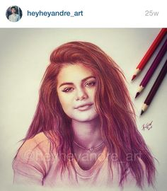 Selena gomez drawing heyheyandreart