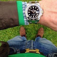 Luxury men fashion hermes belt rolex watch