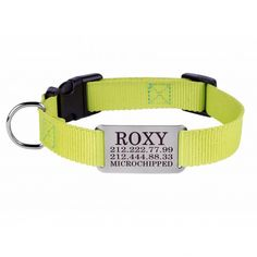 Personalized Dog Collar Nameplate Engraved S M L Lime Green