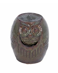 Drum Shape Small Ceramic Garden Water Fountain with Owl Design -  is made from highly polished mould of ceramic that is infused with gorgeous colors in a darker shade. The reddish brown is sculpted beautifully with precise details. Its front also features a water inlet that is carved below the owls beak. The oval design is cut from the top and bottom for which acts as an outlet for the fountain and the bottom acts as a heavy base that balances the entire structure.