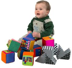 IQ Baby Knock-Knock Blocks--I got these b/c our daycare had a set. At 9 months, he was more interested in knocking them down. Closer to 2, not only did he stack (to see them fall down), he points to the people and asks ask who they are.