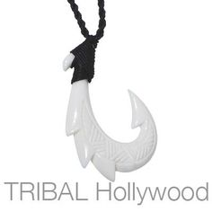 Our handcrafted men's Hei Matau triple barbed white bone fishhook rope necklace honors the Maori fishhook, which has symbolized luck and power for 1000 years. Fish Hook Necklace, Rope Necklace, Men Necklace, Bracelet, Bone Jewelry, Resin Jewelry, Maori Symbols, Hawaii Tattoos, Bones