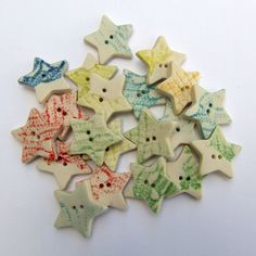 Porcelain Star Shaped Buttons Pressed with Lace. #ceramic #handmade #scrapbooking #supplies #knitting #embroidery #crochet #DIY #crafts #childrens