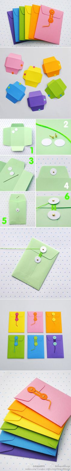 String and button envelopes - DIY