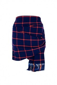 red plaid fringe skirt by Thakoon Addition