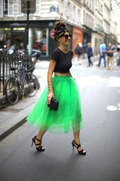 what-do-i-wear:    Vintage Crop Top, Romwe Lime Green Tutu Skirt, Vintage Scarf (tied into hair), ASOS Sunglasses, Jimmy Choo Strappy Sandals & Vintage Box Clutch (image: befrassy)