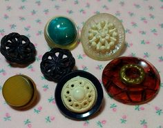 Assortment of 7 Vintage Celluloid and Bakelite Buttons by BygoneButtonBoutique on Etsy