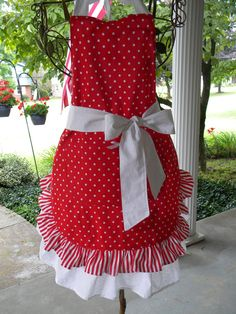 Retro Full Apron Red Stripes and Dots Carnival by WhymsyandLace, $36.99