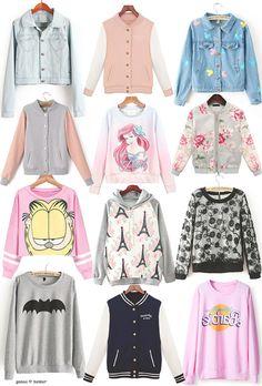 "gasaii: "" Early fall wish list ✿ • light denim jacket • pink contrast jacket • mickey print denim jacket • gray and pink jacket • pastel ariel sweatshirt • gray floral organza jacket • pink garfield..."