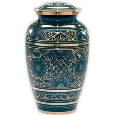Brass Cremation Urn - This blue brass urn has an exquisite gold etched design. It has a secure, threaded screw-on lid and is available in adult and keepsake sizes. Shop now!