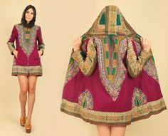 Sick Sick Find! ViNtAgE 60' 70's Rare Purple Velvet Hooded Dashiki Jacket Mini Dress by hellhoundvintage, $158.00