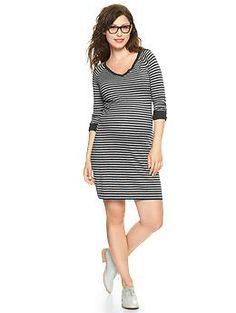 Striped V-neck sweater dress--love the raglan sleeves.