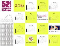 2016 Money Challenge Calendar Printable - Save $1378.99
