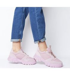 Office Fast Pace Chunky Lace Up Trainers Pink - Flats Pink Power Rangers, Pink Office, Pink Flats, Lace Up Trainers, Adidas Sneakers, Footwear, Wardrobe Ideas, Stuff To Buy, Spring