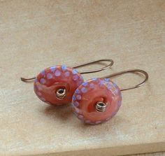Red Blue Lilac Lampwork Glass Bead and Copper Earrings £14.00
