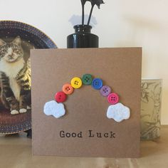 Good Luck Rainbow Button Card by LizzieBoxCreates on Etsy https://www.etsy.com/uk/listing/549868727/good-luck-rainbow-button-card