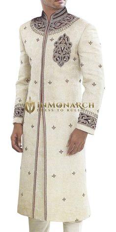 Regal Cream Wedding Sherwani series of from Inmonarch A sharp and sleek Sherwani For Men Wedding, Wedding Dresses Men Indian, Mens Sherwani, Sherwani Groom, Wedding Dress Men, Wedding Wear, Wedding Store, Indian Suits, Indian Wear