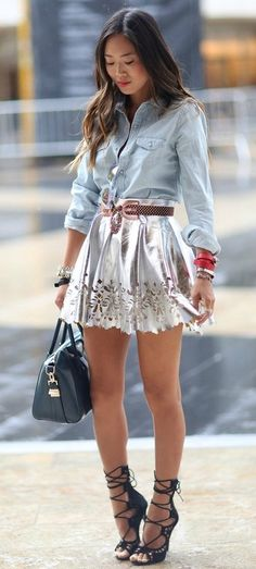 Chambray tucked into skirt with brown belt