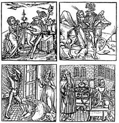 The four temperaments on a woodcut from an anonymous artist, 1519. Top-left: phlegmatic; top-right: sanguinistic; below-left: choleric and below right: melancholic. In: BASTIAN, et al (1960).