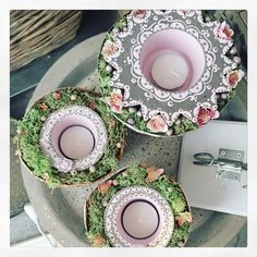 Home - Sieda Concrete Website Source by Concrete Art, Concrete Garden, Candle Stand, Candle Holders, Diy Candles, Diy Photo, Diy And Crafts, Decoupage, Decorative Plates
