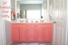 Grey Bathroom Paint, Coral Bathroom, Grey Bathrooms, Small Bathroom, Bathroom Mirrors, Bathroom Cabinets, Flamingo Bathroom, Boy Bathroom, Bathroom Storage