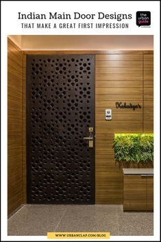 15 Indian Main Door Designs That Make a Great First Impression : Unique metal door design with lush plants on the other side Modern Entrance Door, Main Entrance Door Design, Home Entrance Decor, Front Door Design, Gate Design, Entrance Doors, Pooja Room Door Design, Door Design Interior, Interior Doors