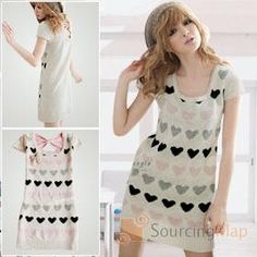 Bowknot Back Ladies' Heart Patterns Knit Sweater Dress White