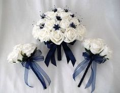 POSIES - ARTIFICIAL WEDDING FLOWERS - BRIDES WITH 2 BRIDESMAIDS POSY BOUQUETS IN IVORY & NAVY BLUE