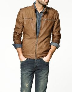 SYNTHETIC LEATHER JACKET WITH MAO COLLAR