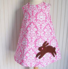 Pink and White Damask Bunny Dress Jumper   Sizes by thetrendytot, $52.00  #Easter