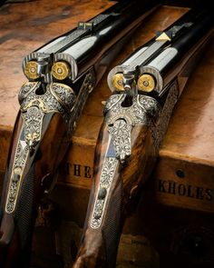 ・・・ 2 Westley Richards droplock double rifles with ammunition chambered. Weapons Guns, Guns And Ammo, Gun Art, Shooting Guns, Shooting Club, Game Shooting, Double Barrel, Custom Guns, Fire Powers