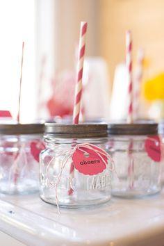 Mini mason jars with lids & straws for kids