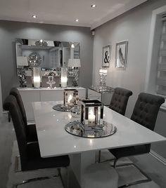 Dinning Table Decor Ideas, Grey Dinning Table, Modern Dinning Room Ideas, Dining  Room