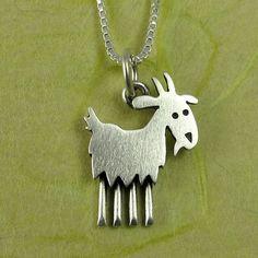 Goat necklace by StickManJewelry on Etsy, $30.00