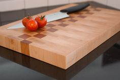 End grain Chopping board. Maple & Cherry, treated with natural oils. By Steven Polak