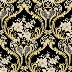 Vinyltapete Barock Retro # schwarz/gold/weiß # Fujia Decoration # 68625: Amazon.de: Baumarkt