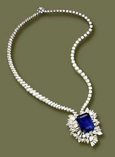 "The Gordon Sapphire necklace , emerald cut. 50 carat sapphire once belonged to Aron S. Gordon, this is a copy cat necklace for those of us that can afford the real ""thing""."