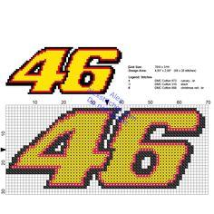 Small Valentino Rossi Moto GP number 46 cross stitch logo size 69 x 28 3 DMC colors