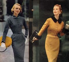 Fashion Slender Fall Dresses 1953 is part of fashion dresses - A peek at some beautiful Fall dresses 1953 by fashion designers Adele Simpson, Jane Derby, Karen Stark and Nettie Rosenstein Vintage Suit, Vintage Outfits, Moda Vintage, Vintage Mode, Looks Vintage, Vintage Fall, 1950 Outfits, Vintage Style, Dress Vintage