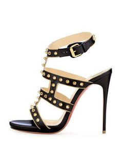 Christian Louboutin Sexystrapi Jazz Studded Zip Red Sole