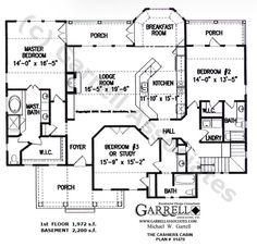 Cashiers Cabin House Plan # 01470, 1st Floor Plan, Mountain Style House Plans, Cabin Style House Plans