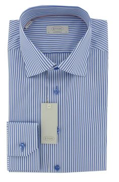 Eton Shirt - Striped with Cutaway Collar in Blue and White - Contemporary Fit - Single Cuff