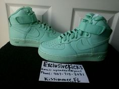 DS New Authentic Youth Nike iD Air Force 1 One Hi Top Mint Turquoise 4y Custom #Nike #Athletic