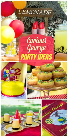 What a fun Curious George boy birthday party with a lemonade stand and yellow hat table settings!  See more party ideas at CatchMyParty.com!