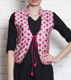 Beige & Pink Phulkari Embroidered Silk Jacket