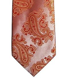 Introducing Mens Coral Orange Jacquard Woven Paisley Tie Necktie and Handkerchief Set. Great Product and follow us to get more updates!