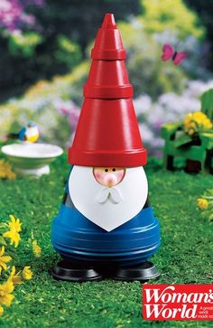 This adorable garden gnome is a perfect DIY craft, made out of an old flowerpot. So cute and easy!