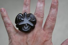 Vintage brown coat button ring
